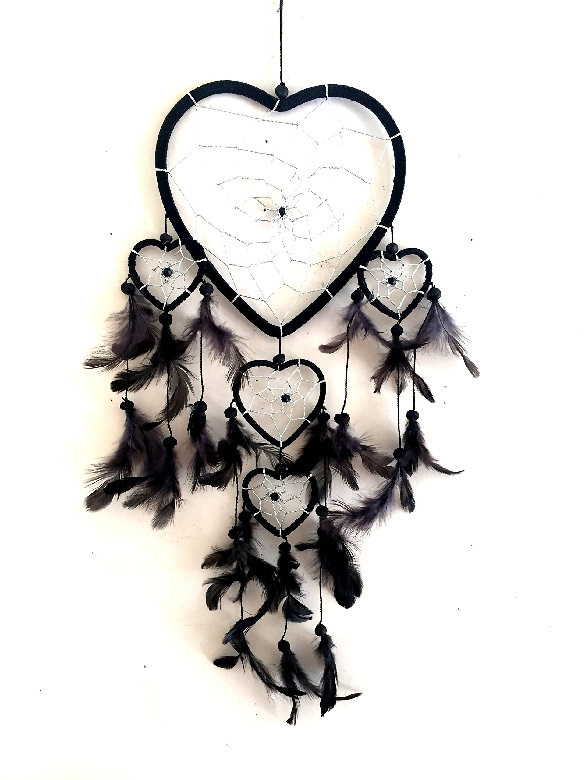 "OMA Dream Catcher - Hand Made BLACK Feather Dream Catcher Heart Shaped With Crystal Beads - 7"" Diameter & 24"" Long - OMA FEDERAL (TM) BRAND"