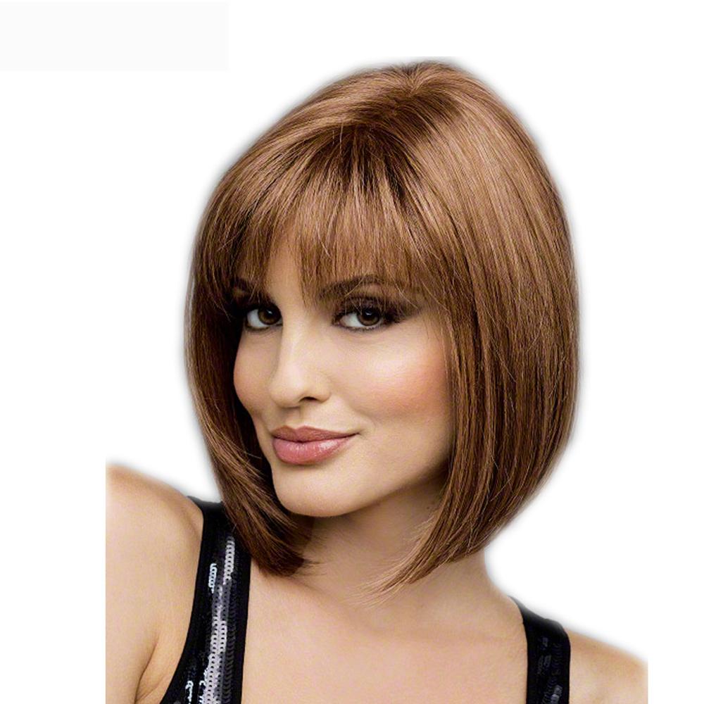 wig with bangs hair Short blonde