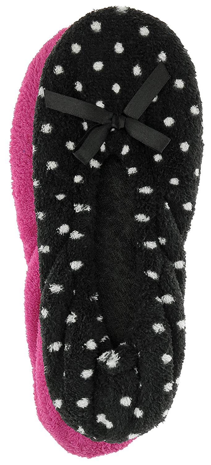 Capelli New York Ladies Dots and Solid Cozy Ballet Indoor Slippers