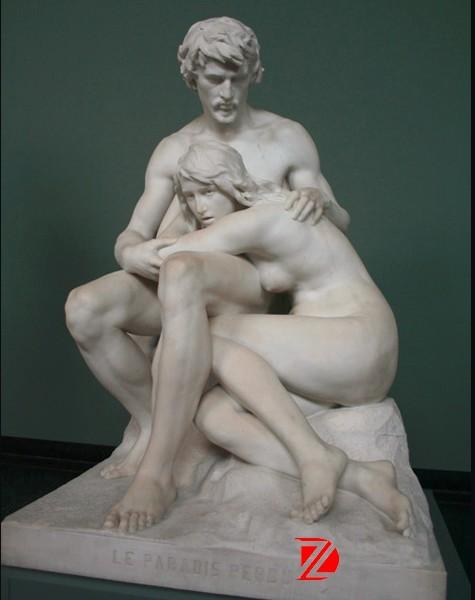 Mythological Figure Adam And Eve White Marble Statue