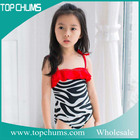 wholesale zebra printed cute child swimsuit one piece