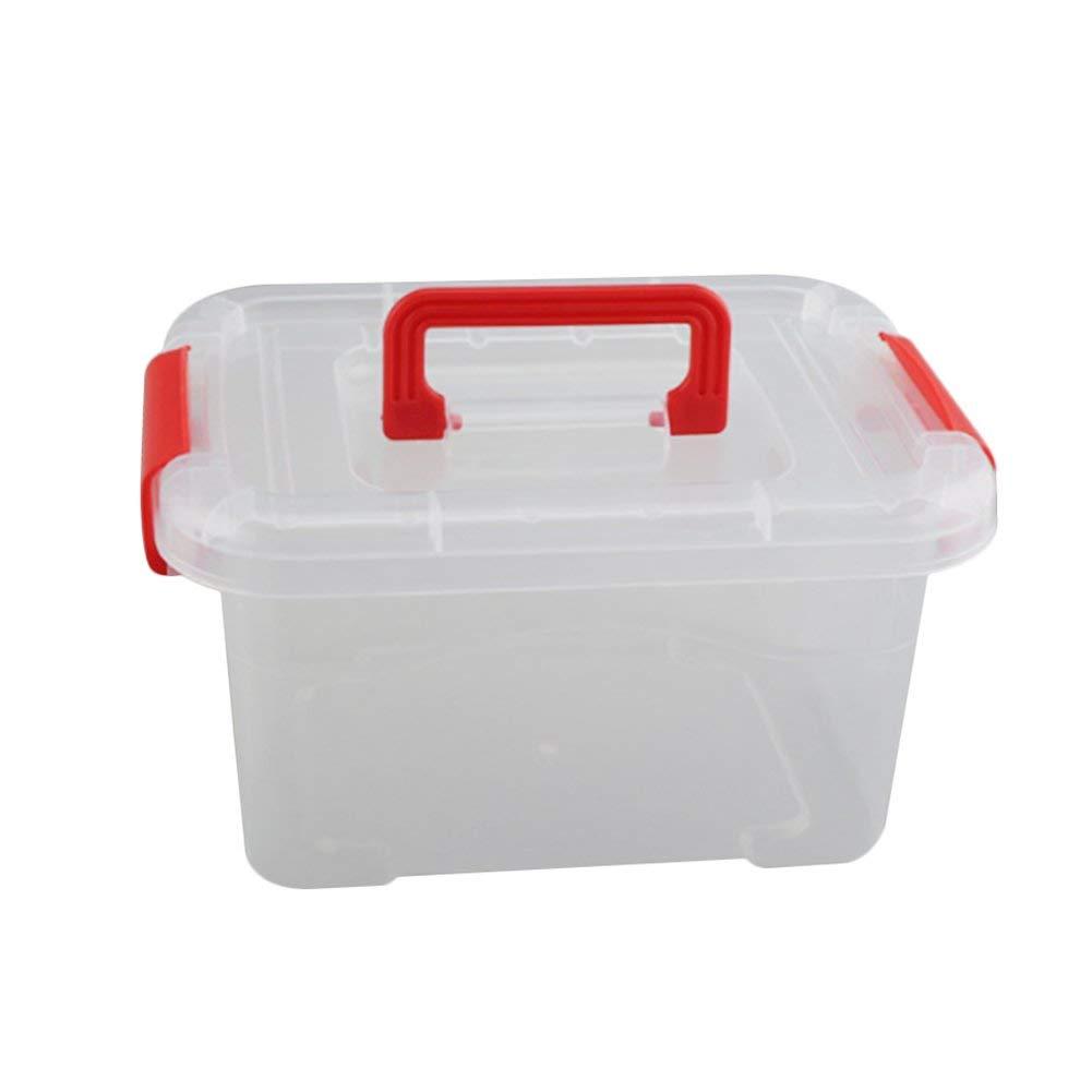"diffstyle Plastic Mini Storage Box Transparent Handled Sundries Container Bin Portable Jewlery Toys Case Organizer (Red, L(11.41"" x 7.72"" x 6.06""))"