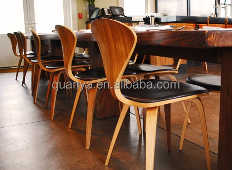 modern durable laminated wood cherner side chair for dining room