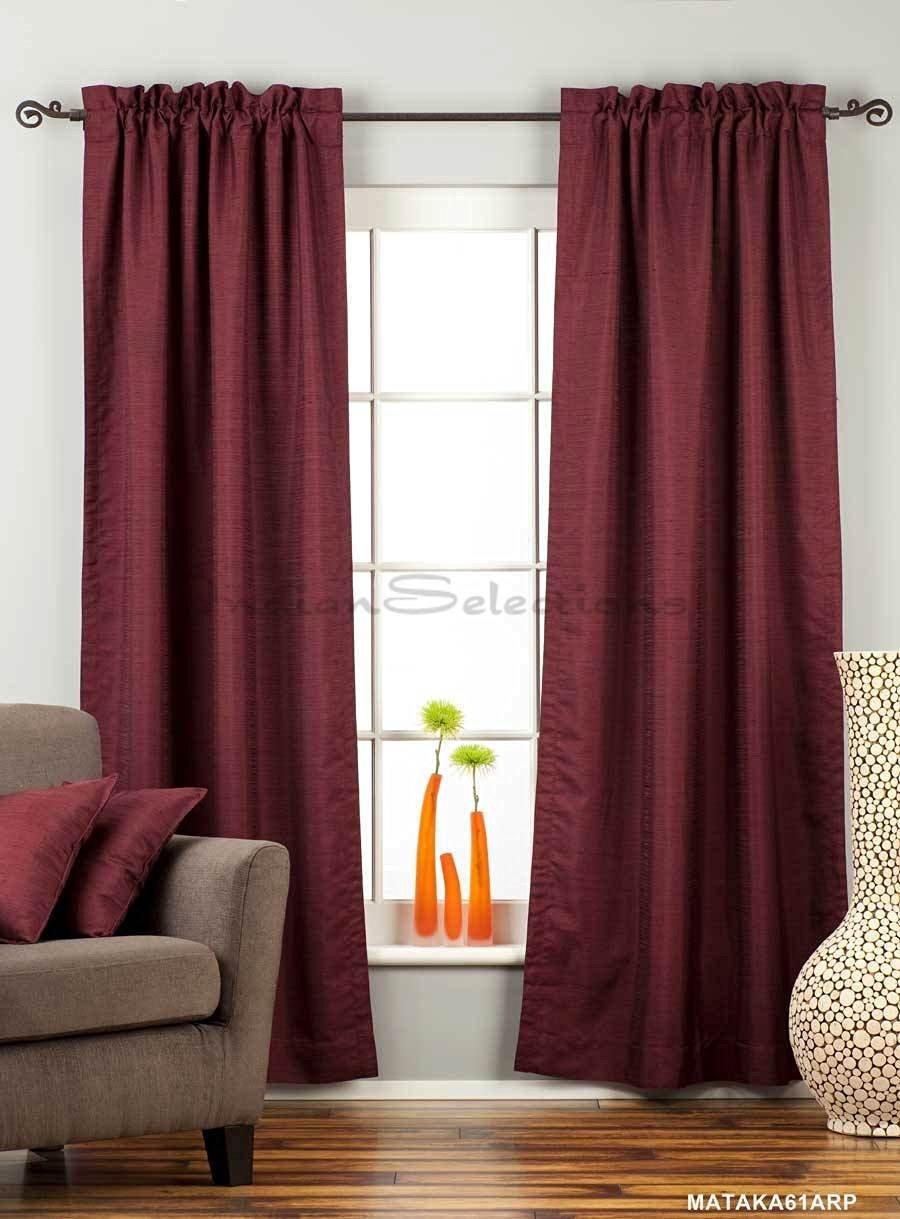 Dark Maroon Rod Pocket Matka Raw Silk Curtain / Drape - 43W x 84L - Piece