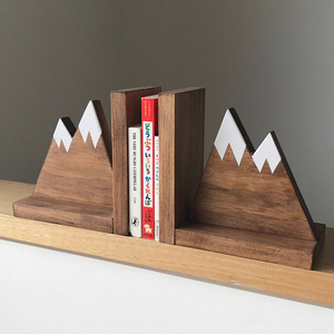 Woodland Nursery Decor Mountain Peak Wooden Bookends Book Ends