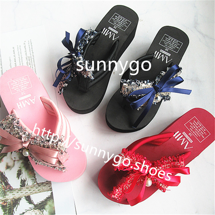 2019 summer fashion lady-shoes high heel eva  beach slippers