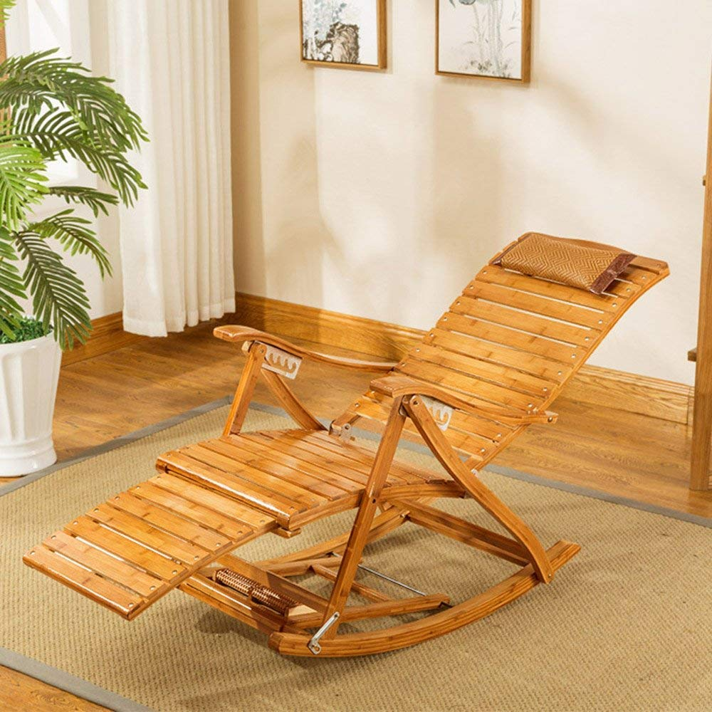 PLLP Dormitory Bed Chair, Student Lazy Chair, College Dormitory Artifact Sun Loungers Solid Wood Collapsible Multifunction Massage Living Room Casual Backrest Chair Bamboo Lounge Chair