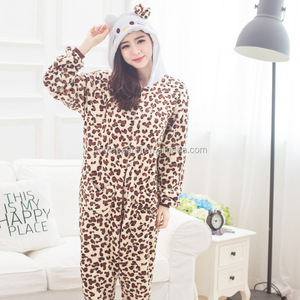 wholesale flannel material leopard print adult onesie with hood