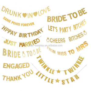 BRIDE TO BE Gold Glitter Banner with Diamond Ring , Bridal Shower Bachelorette Wedding party Decoration