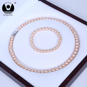 Hot sale freshwater pearl necklace and bracelet pearl jewelry set