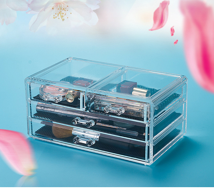 High Quality Transparent Wholesale Large Acrylic Cosmetic Makeup Organizer Storage Box With 3 Drawers
