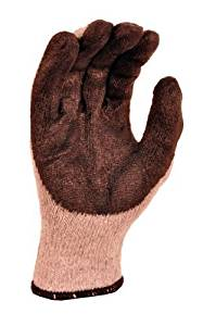 G & F 3108-12 String Knit Palm Latex Dipped Gloves, economical grade , 10-Pairs Pack, Black, Large by G & F
