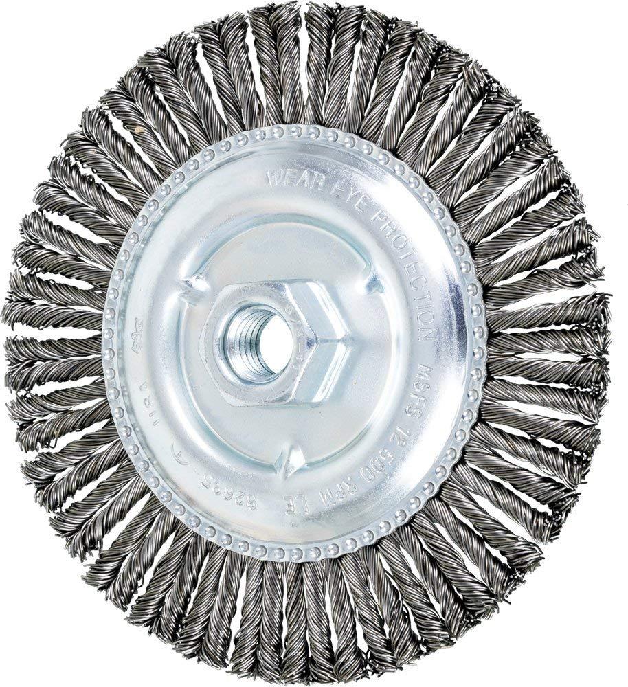 "PFERD 82695 Combitwist Threaded Knot Wheel Brush, Carbon Steel Wire, 6"" Diameter, 5/8-11"" Thread size, 12,500 rpm (Pack of 10)"
