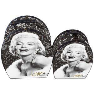 Oval print marilyn monroe storage vintage suitcase boxes sets in mdf