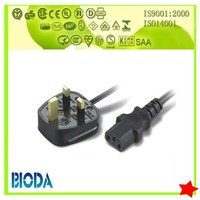 BS approval 3 pins UK IEC C13 computer ac power supply cord