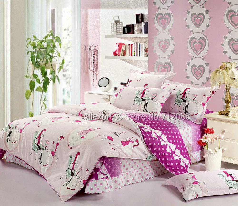 wholesale beauty girl cartoon pattern cotton light pink bedding sets bedlinen 4pcs queen full. Black Bedroom Furniture Sets. Home Design Ideas