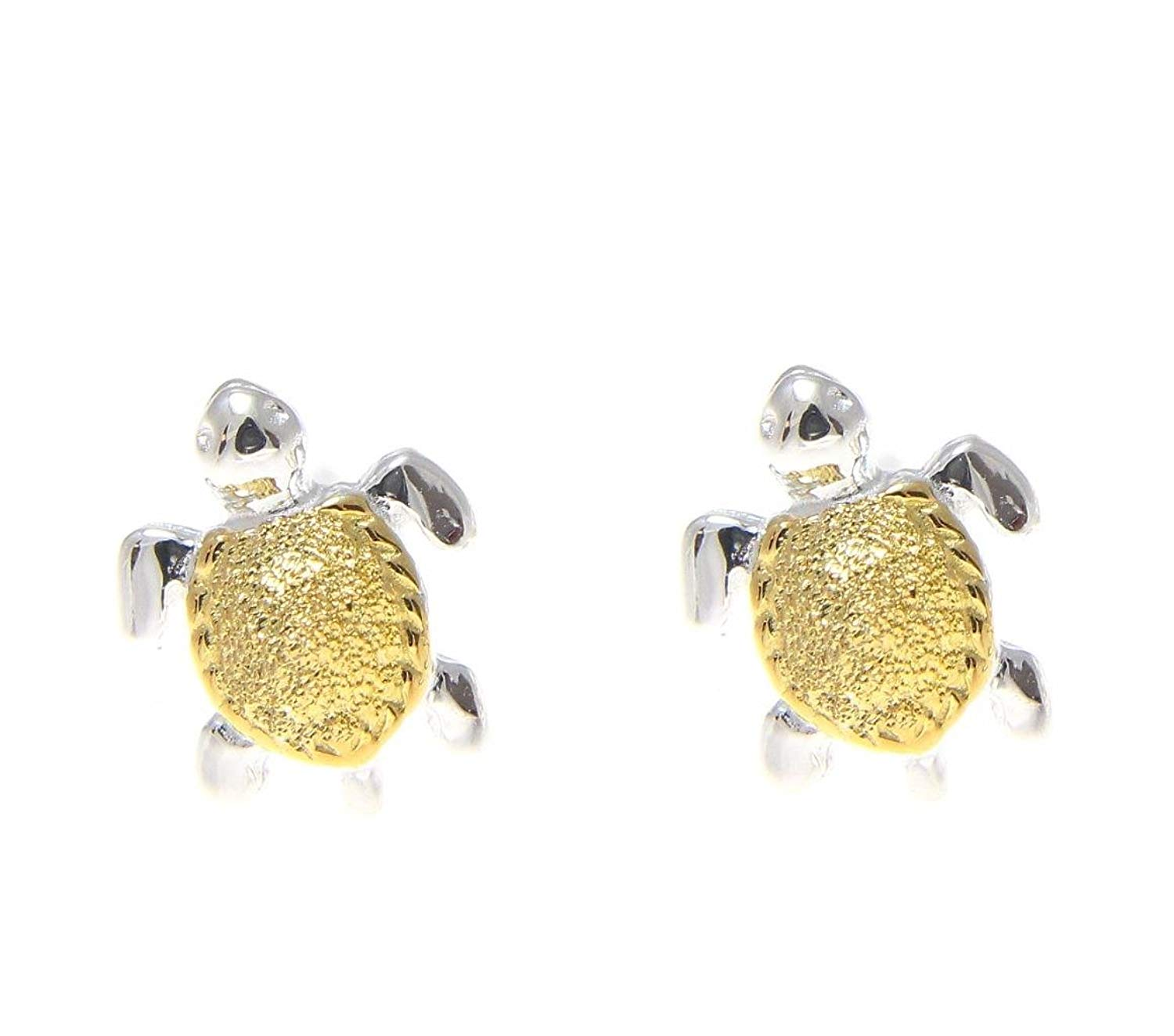 bc63fb2e7 Get Quotations · 925 sterling silver 2 tone yellow gold plated Hawaiian sea turtle  stud earrings extra small 7mm