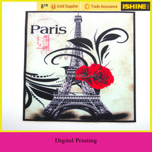Pairs Eiffel Tower with Rose Printing Embroidery Clothes Stickers Digital Printed Patches for Decoration