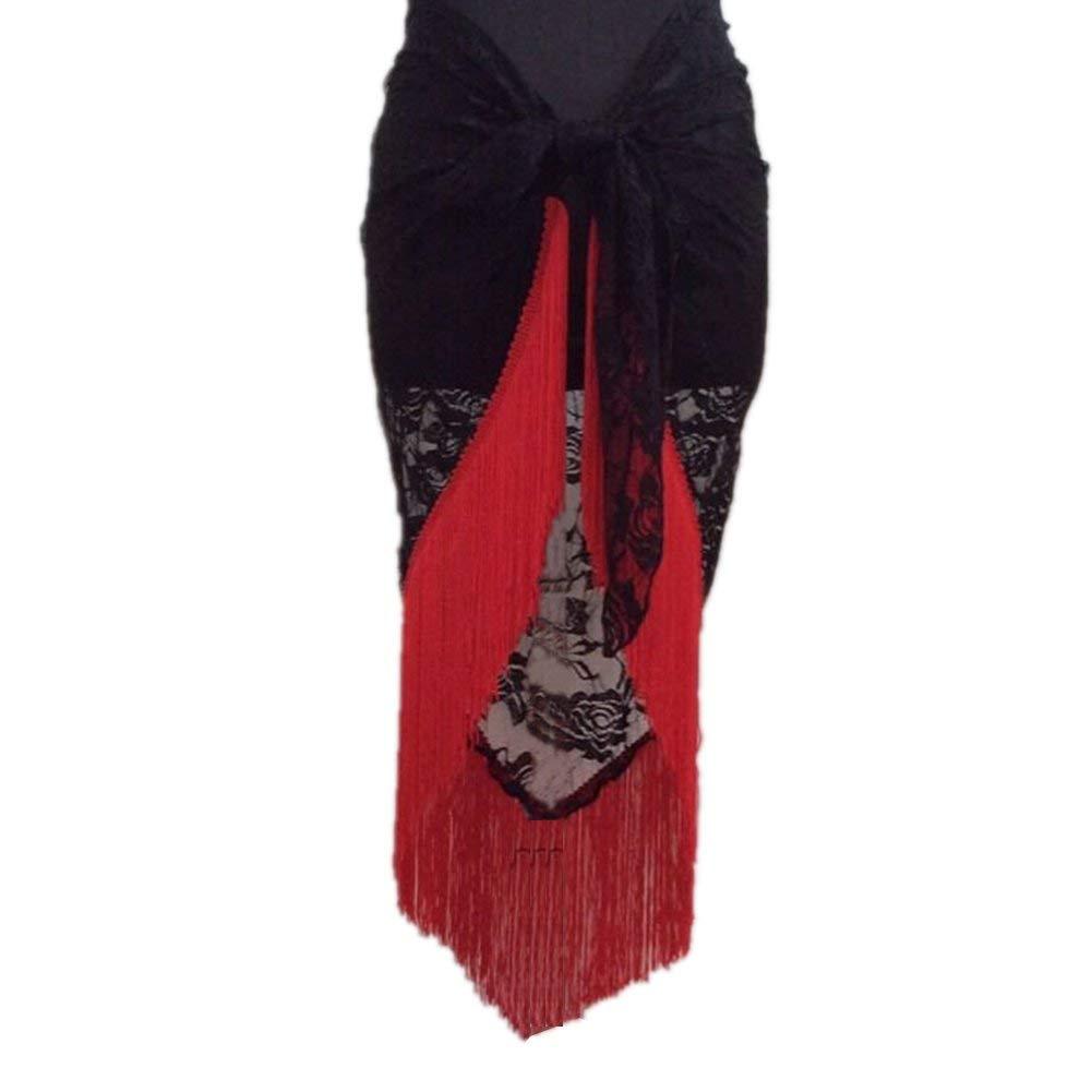Luxsea Belly Dance Tango Cha Cha Tribal Tassels Lace Triangle Hip Scarf Wrap Belt Skirt