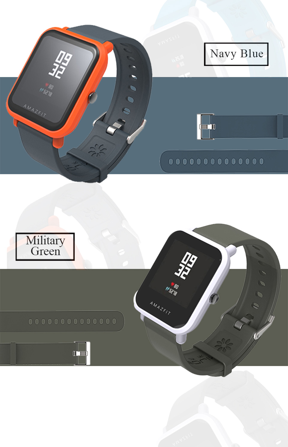 Mijobs Amazfit bip watch band strap Silicone smart watch wristband sports watch strap