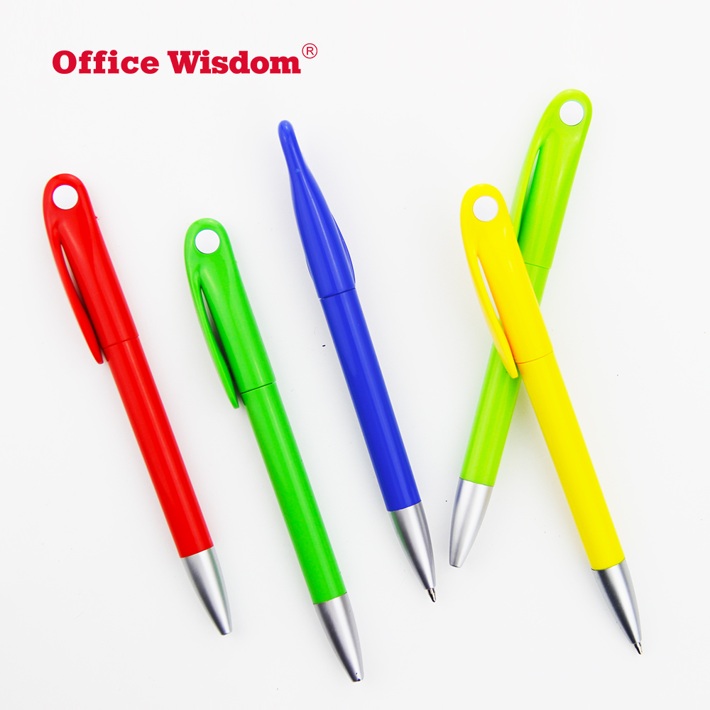 Fancy design for hotel high quality plastic pen set Candy colors ballpoint pen with  Flat head and large clip