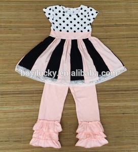 2015 high quality kids clothing stores wholesale baby girl clothes 100% cotton striped girls dress in sets