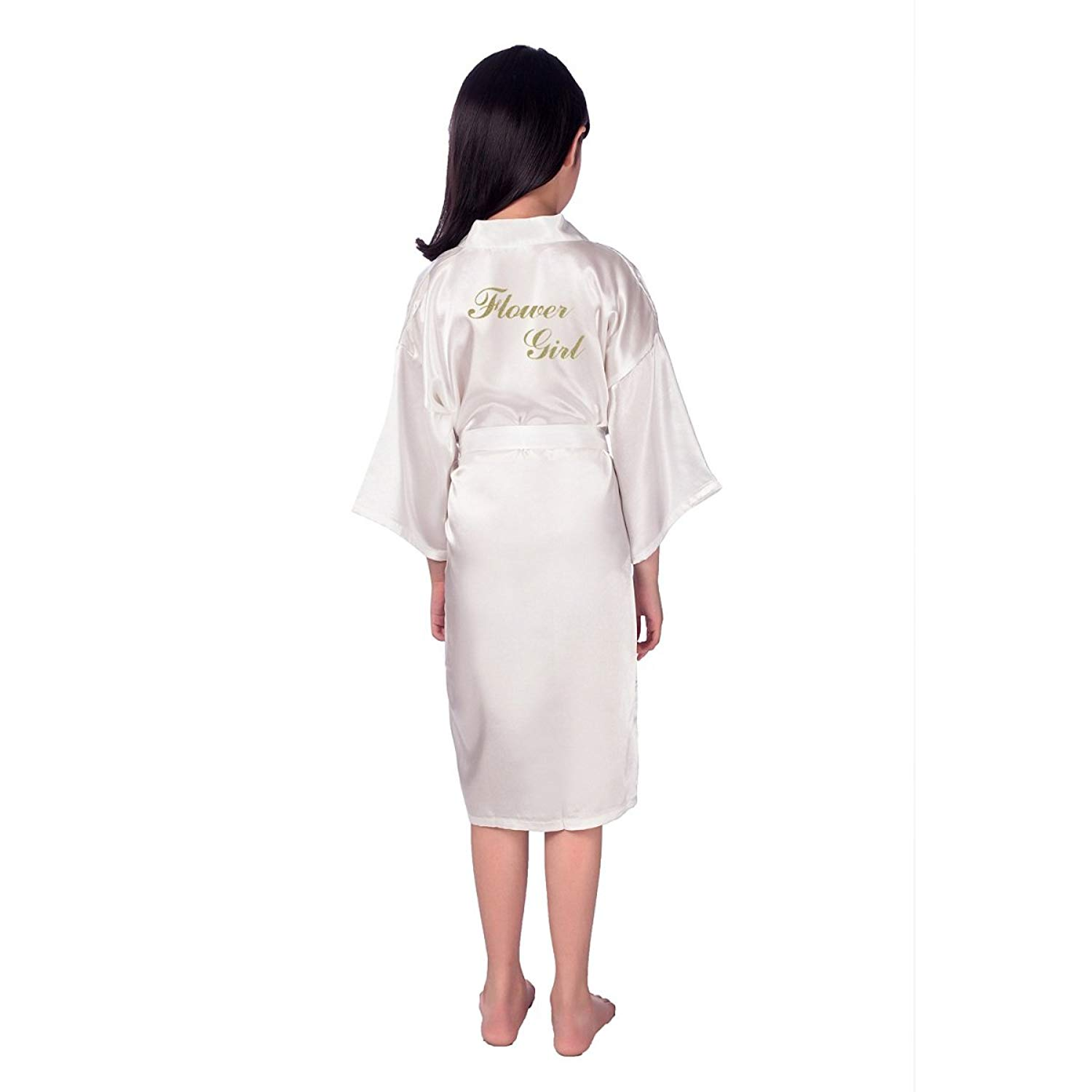 39148142fa Get Quotations · TheRobe Girl Robes Satin Nightgown Wedding Party Getting  Ready Robe with Gold Glitter