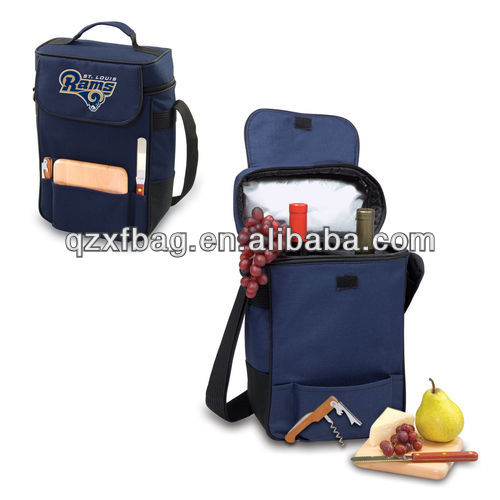 Duet Wine & Cheese Canvas Tote Cooler Bag