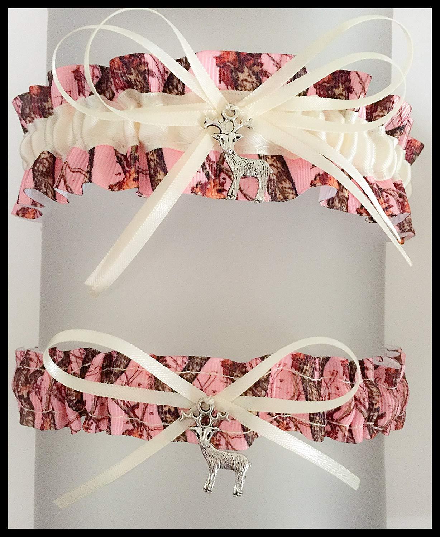 8a9b2b50c04 Get Quotations · Pink Camouflage Ivory Satin Wedding Keepsake Or Bridal  Garter SET - Pick Your Charm