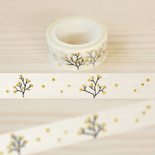 1Roll=15mmx5m Tree Pattern Gold Foil Printing Japanese Washi Decorative Adhesive Tape DIY Masking Paper Tape Label Sticker Gift