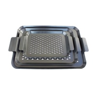 Carbon steel bbq grill pan set of 3 for outdoor barbecue grills