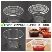 Customized PET disposable 4oz sauce cups matching lids