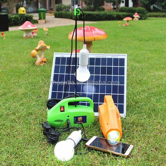 portable solar power kit system for camping with torch