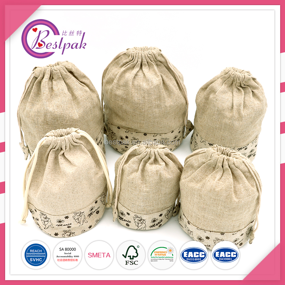 Natural beauty Jute bottle packaging pouches with logo and drawstring