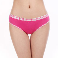 Six Colors Women Cotton Panties Female Underwear With Plaid Waist Side