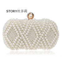 fashion ladies 4 colors bling party vintage bridal pearl beaded small box clutches for wedding