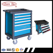 heavy duty steel locker cabinet trolley toolbox with six drawers, plastic frame