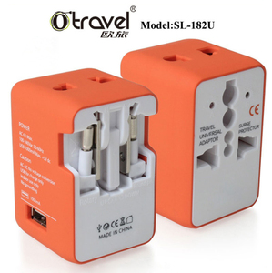 Shenzhen BSCI factory universal plug adaptor plus with 1 usb charger european to uk plug adaptor/european converter plug