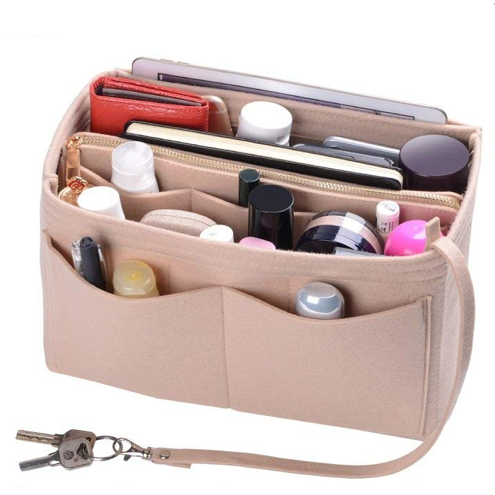 Lichtgewicht 10 Pockets 3 MM Wol Blended Vilt Handtas Purse Organizer Bag In Bag Insert Zak Organizer