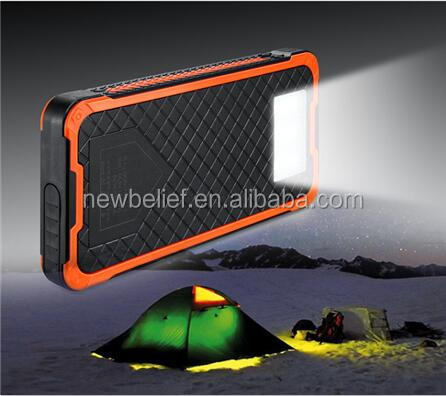 100% Full Charging by Sunlight emergency SOS 12000mah portable solar power bank with phone holder, super camping lantern