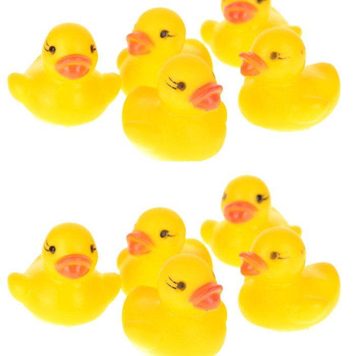Wholesale Cute 20Pcs Yellow Baby Children Bath Toys Cute Rubber Squeaky Duck Ducky Washing toys Baby Gift Free Ship