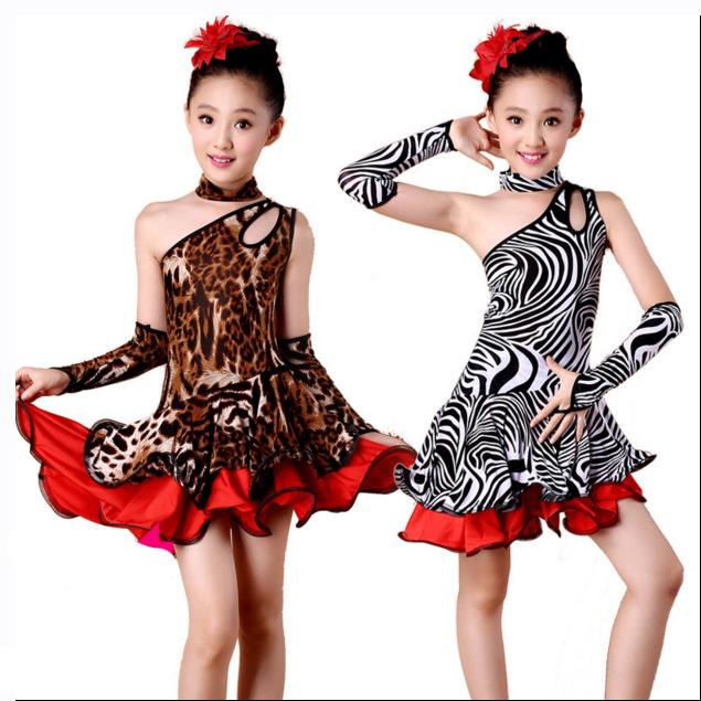 bb12e9b8c48c New Child Kids Unequal Leopard Fringe Competition Ballroom Tango Dance  Costume Salsa Latin Dance Dress For Girls