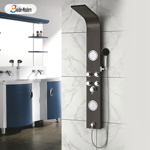 Electric Power Controlled Muslim Black Shower Body Jets Bathroom Set Faucet Set Steam Rain Bottom Outlet Shower Panels