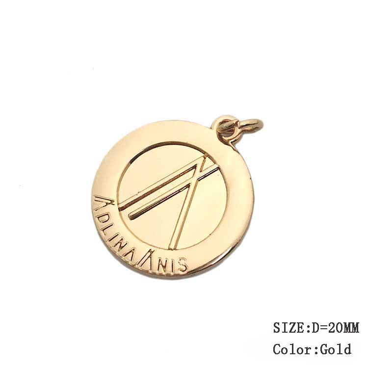 Factory price engraved small logo custom charm metal jewelry tags for necklace
