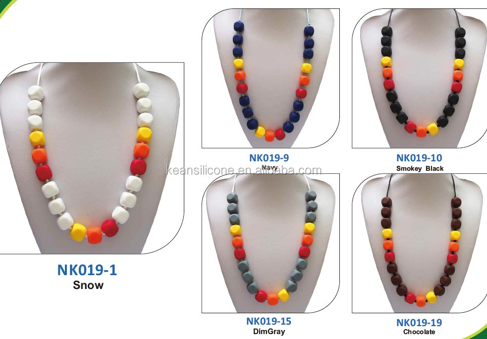 BPA Free by China KeaFood Grade Silicone Baby Teething Beaded Necklace Jewelery For Mums/ Silicone Baby Teething Beaded Necklace