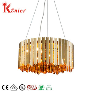 Hotel luxury wedding decoration ceiling hanging modern metal round wrought iron gold LED chandelier pendant light
