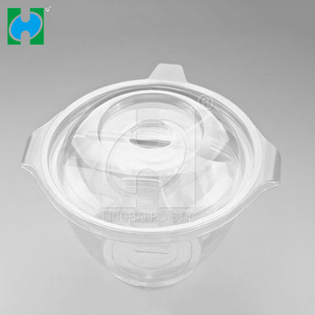 Disposable take away plastic salad bowl with lid