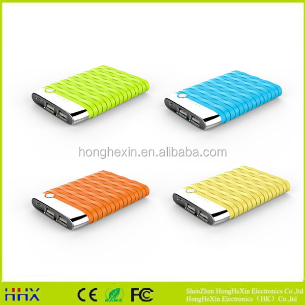 Promotional power bank 5000mah slim power bank with cable built in for prompt charging