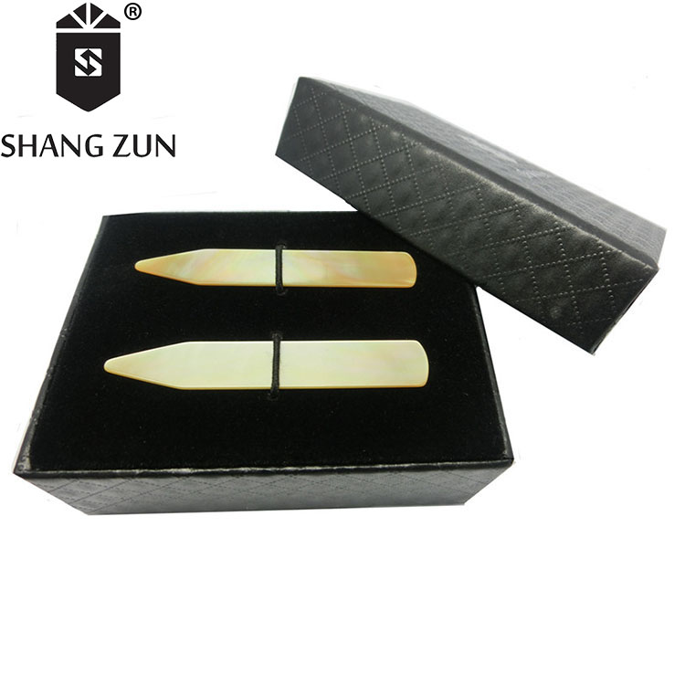 Wholesale Customized Shell Collar Stay Bones  Mother of Pearl Collar Stays 6 Pieces in Black Box