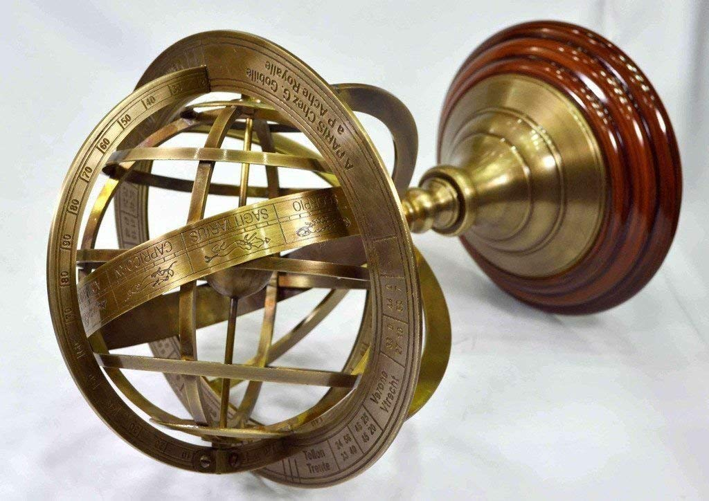 Antique Brass Armillary With Wooden Base Vintage World Sphere Globe C